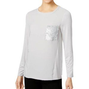 NY Collection Ice Grey Sequin Pocket XL